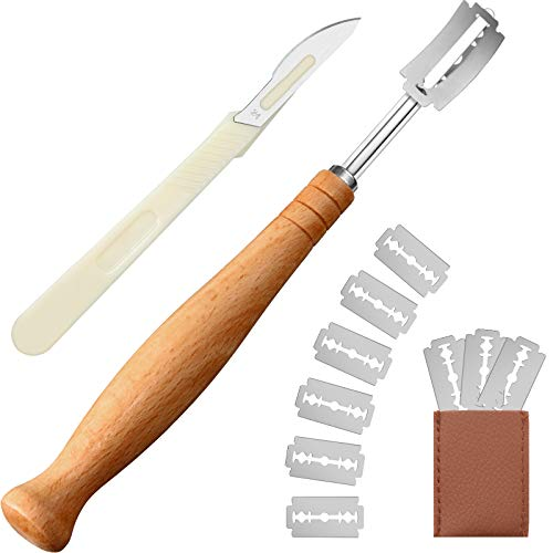 Zhehao 13 Pieces Long Wooden Bread Lame and Bread Cutter Set with 10 Replacement Blades and Protective Cover, Dough Scoring Tool for Beginners Kitchen Baking Bread Surface Decoration