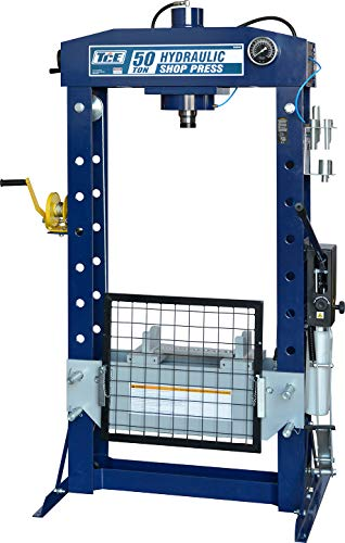 TCE TCE50030 Torin Steel H-Frame Pneumatic Air Hydraulic Garage/Shop Floor Press with Hand and Foot Pump Pedal, 50 Ton (100,000 lb) Capacity, Blue