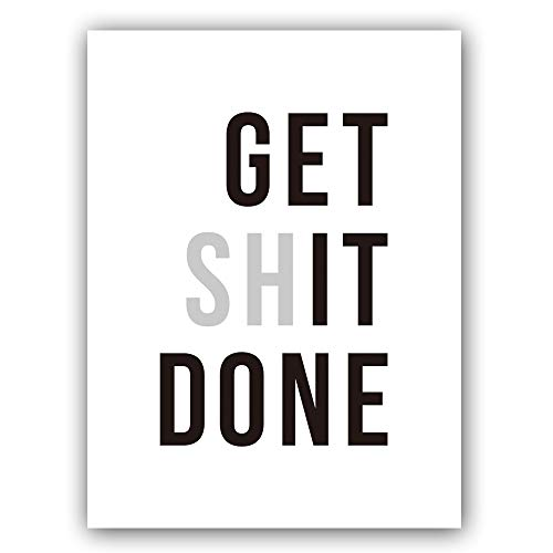 """Chsdec Lettering Typography Inspirational Success Art Print Get Shit Done Quote Inspired Poster?Classroom Gym Motivation 12"""" X 16"""" UNFRAMED"""