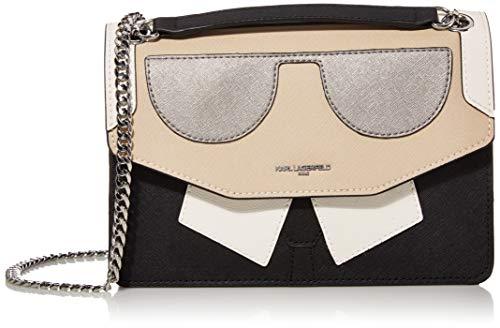 Karl Lagerfeld Paris Damen Maybelle Novelty Flap Shoulder Bag Umhängetasche, White/Black Karl, Einheitsgröße