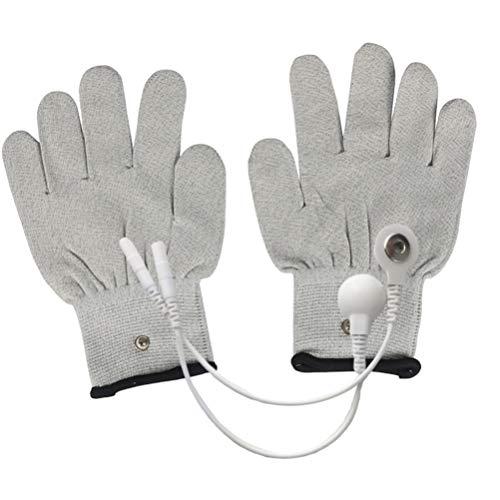 EXCEART Leitfähige Handschuhe Elektrode Ems Handschuhe mit Schnappelektroden Pads Massagehandschuhe für Zehner Ems Maschine für Körperliche Arthritis Triggerfinger (Xl Grau)