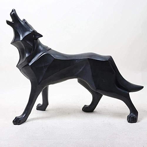 Desktop-Skulptur Abstrakte Totem Wolf Hund Statue Geometrische Handwerkskulptur Harz Künstler Dekoration Zubehör Büroschmuck Geschenk Figuren (Color : A)