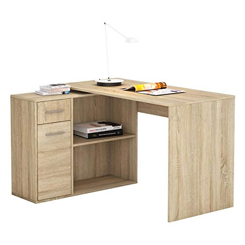 Bureau d'angle Isotta Table avec Meuble de Rangement intégré et modulable avec 2 étagères 1 Porte et 1 tiroir, en mélaminé décor chêne Sonoma