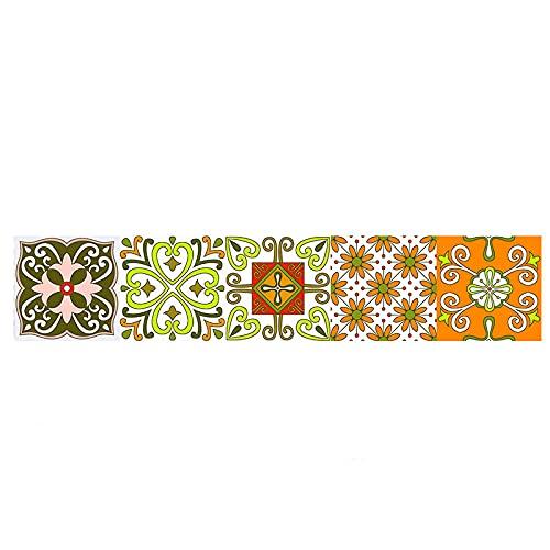Pegatinas de azulejos de estilo nórdico impermeables pegatinas de pared DIY autoadhesivas extraíbles retro cuadrados para decoración de muebles de cocina baño 30 cm x 150 cm x 1 pieza