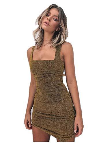 Damesjurk bretels vierkante kraag slanke stiksels rugloze jurk korte rok