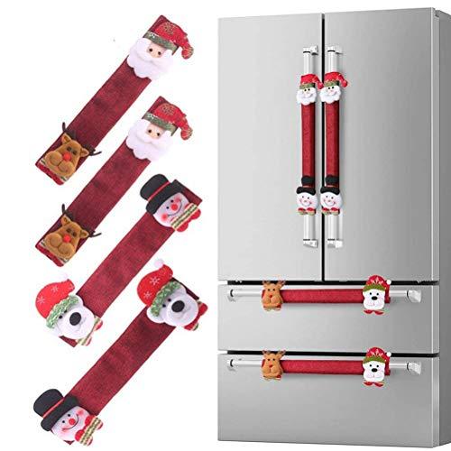 Venhoy Juego de 3 cubiertas para tiradores de puerta de Navidad, decoración de cocina, para nevera, horno, lavavajillas, microondas, etc.