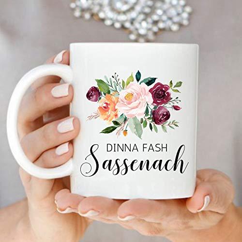 Dinna Fash Sassenach Tasse Outlander Kaffeetasse Sassenach Tassen Highlander Fan Tasse Floral Scottish Mug Jamie and Claire Geschenk