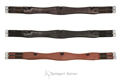 Passier geschweifter Leder Sattelgurt lange Form schwarz, havanna oder teak, Größe:145, Farbe:havanna