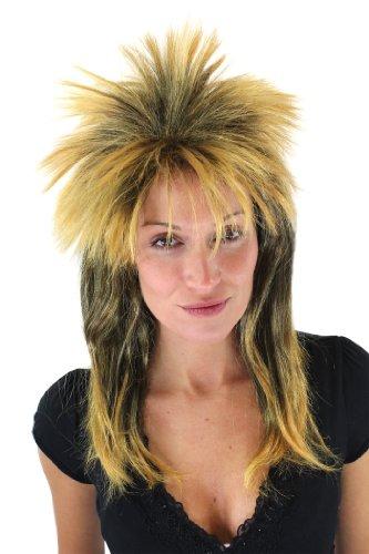 WIG ME UP ® - Peluca Salvaje, Mujer/Hombre, Unisex, Pink, punki, Rock, Glam, Retro, Negro/Naranja VZ-079-P103P144