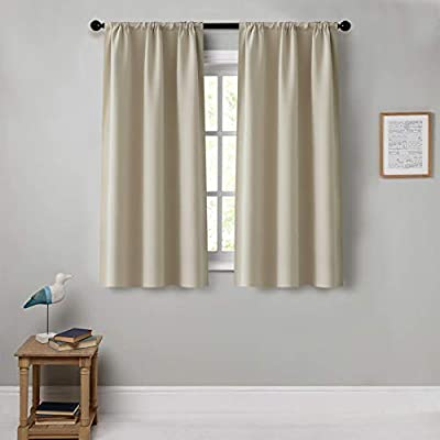 CUTEWIND Room Darkening Curtains 45 inches Length Blackout Window Drapes for Kitchen/Bedroom Rod Pocket Window Treatment Thermal Insulated Beige Drapes 1 Pair