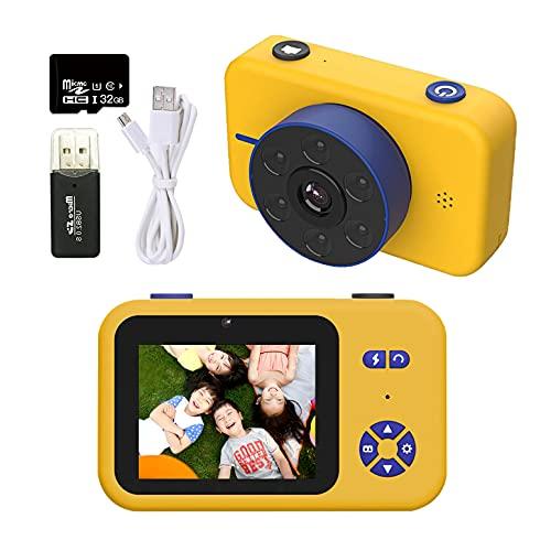 5000万画素 RONHAN 子供用 デジタルカメラ トイカメラ 子供用カメラ キッズカメラ 4KフルHD 2.4インチIPS画面 6LEDランプ搭載 USB充電 MP3 写真 動画 連写 タイマー撮影 耐衝撃性 操作簡単 ミニカメラ 子供プレゼント 子供の日 誕生日 知育 教育 男女兼用 日本語説明書付き 32GSDカード付き (イエロー)