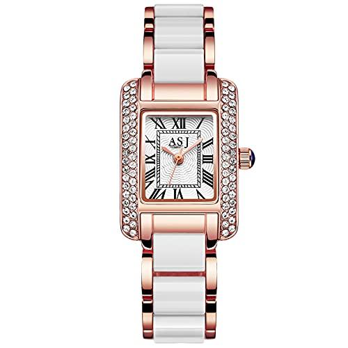 RORIOS Moda Relojes Mujer Impermeable Relojes con Banda de Acero Inoxidable Relojes de Pulsera Casual Vestir Relojes para Mujer Chica