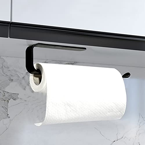 KERMEO Supporto per Carta da 33 cm in Lega di Alluminio, Supporto per Asciugamani Autoadesivo Senza Fori, Armadio a Muro per Cucina Bagno Ristorante(Colore Nero Opaco)