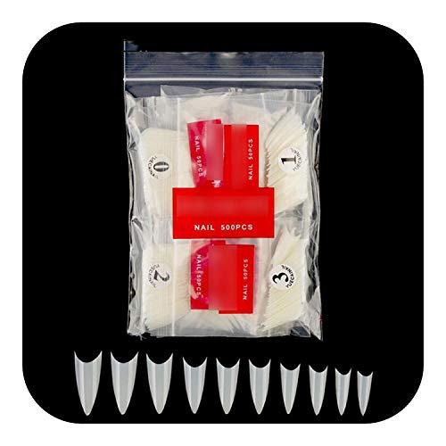 Élégant Faux Ongles Au Toucher, 500pcs Faux Ongles Conseils Avec 10 Tailles Conseils Pour Les Ongles Stiletto Français Acrylique Faux Ongles Conseils ABS Artificiels 0-9 Tailles Conseils Nail Art