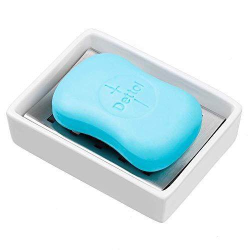 ARCCI Seifenhalter aus Keramik, Seifenhalter aus Edelstahl mit doppelter Abtropfschicht und Seifenkiste aus Keramik für Bad und Küche