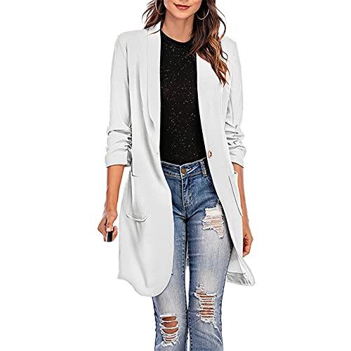 Pabuyafa Mujeres de manga larga Casual Blazers Color sólido chaqueta larga capa de un solo botón solapa traje transpirable chaqueta con bolsillo, blanco, XXL