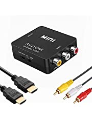 RCA to HDMI変換コンバーター コンポジットをHDMIに変換アダプタ AV to HDMI変換器 音聲転送 720/1080P切り替え HDMIケーブル付 RCAケーブル付 USB給電ケーブル付