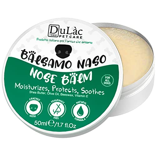 Dog Nose Balm All Natural and Unscented Dulàc, with Shea Butter, Vitamin E, Calendula, Beeswax, Made in Italy Snout Soother for Dogs - Moisturizes, Repairs and Protects Dry Cracked Dog Nose