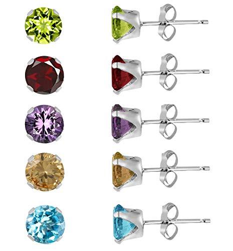 Juego de 5 pares de pendientes de tuerca de plata de ley 925 con diamante redondo D/VVS1 de 3 mm, amatista, peridoto, granate, citrino y topacio azul.