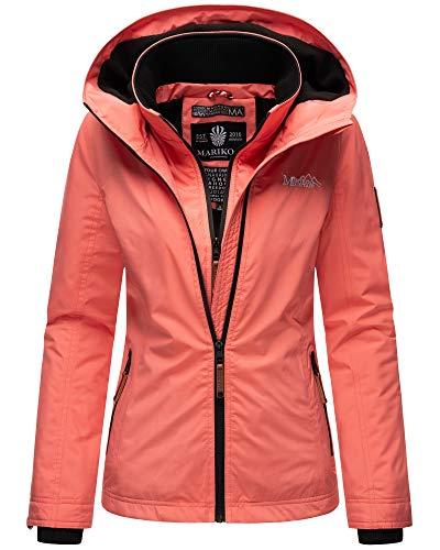Marikoo Damen Regen Jacke Outdoor Regenjacke Winterjacke Fleece Gefüttert Kapuze XS - XXL ERDBEERE (XL, Rose Coral)