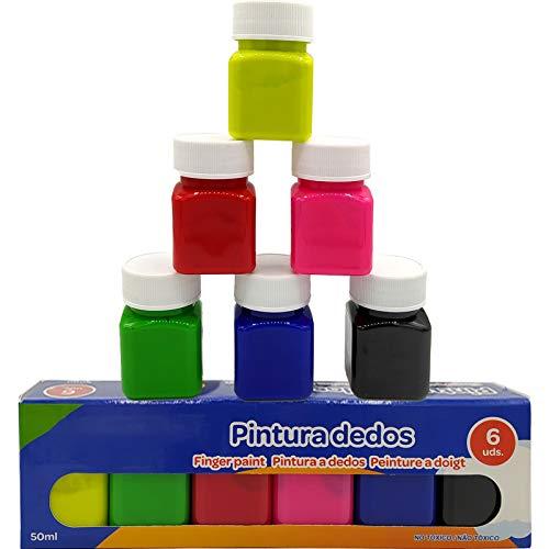 OCEANO 6×50ml Botes Pintura de Dedos para niños, Pintura de Dedos,Lavable Pinturas para niños no tóxicas, de Color Natural y ecológico