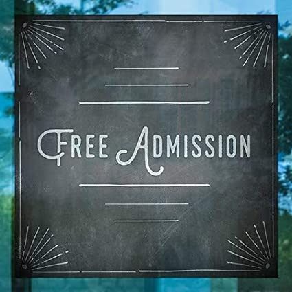 Free Admission 5-Pack 12x12 CGSignLab Chalk Corner Window Cling
