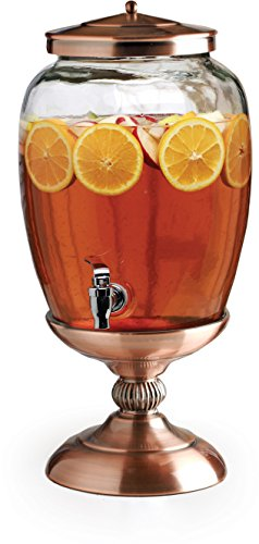 Circleware Celebrations Elegant Beverage Dispenser with Metal Stand Fun Party Entertainment Home Kitchen Glassware Water Pitcher for Juice, Beer & Cold Drinks, Lead-Free, 3.1 Gallon, Copper