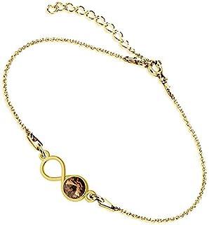 Beforya Paris – Infinity - Many Colors – 925 Sterling Silver/Goldplated 24K – Beautiful Women's Bracelet from Swarovski – Wonderful Bracelet with Bag and Gift Box PIO/72