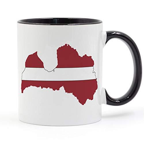 N\A Lettische Riga-Flagge Kaffeetasse Keramiktasse Farbe Handgrifffarbe Innen Geschenke 11oz