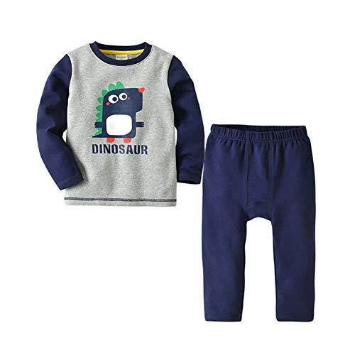 LGLE sous-VêTements Thermiques pour Enfants Costume GarçOn Dessin Animé Imprimé Manches Longues Service à Domicile Deux PièCes VêTements,Grey,12-18M(80)