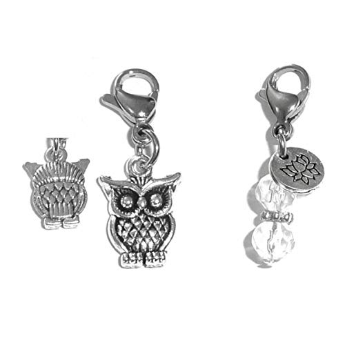 Clip On Charm, Bag, Purse, Handbag, Message, Keychain, Zipper Pull, Bracelets, Necklaces, Jewelry (Owl)