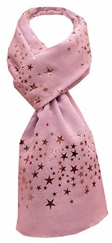 World of Shawls Damen-Schal mit Glitzer, Stardust-Motiv, einfarbig, mit Perlen bestickt, Spitze, Pink