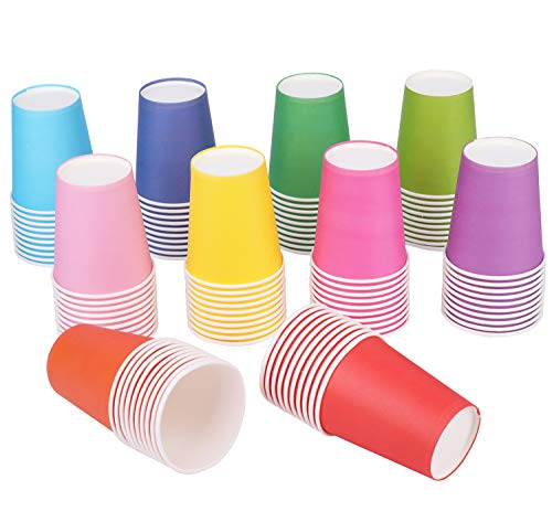 Yesland 200 Packs 9 OZ Disposable Party Paper Cups, 10 Colors Paper Drinking Cup for Water, Juice, Coffee or Tea, Perfect for Holiday Wedding Office Outdoor Activities