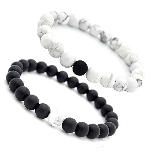 EnjoIt, gioielli di coppia, braccialetto della distanza con perle di pietre energetiche di agata nera opaca e howlite bianca