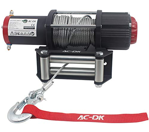 AC-DK 5500 lb. Advanced Electric Winch Kits for Towing ATV/UTV Off Road Trailer, 12V Winch with Galvanized Steel Wire Rope, Waterproof Winch with Wireless Remote Control Mounting Bracket