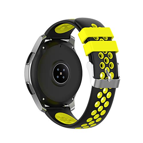 PINHEN - Bandas de reloj de 46 mm, 22 mm de repuesto de silicona suave universal transpirable para Gear S3 Frontier/Galaxy Watch SM-R800 (46 mm) / Classic Smart Watch (Negro-Amarillo)