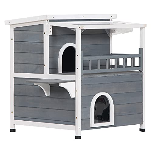 PawHut 2-Story Weatherproof Wood Cat House with Balcony Cat Shelter Condo Enclosure for Indoor &...