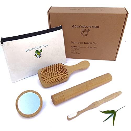 Kit Aseo Bambú, Regalo Ecológico, Biodegradable, Set Baño, Vegano, Regalo para Mujer, Sostenible, Cepillo de Dientes con Funda Protectora, Estuche de viaje, Cepillo de Pelo Antiestático, Espejo Mano