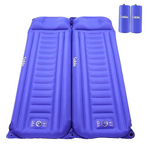 Sable Doppel Schlafmatte, Zwei Personen Schlafmatratze, isolierte 4 Jahreszeiten Luftmatratze, aufblasbare leichte Campingmatte, mit integrierter Pumpe, für Backpacking, Wandern, Camping