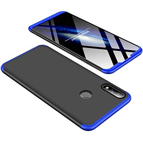 Yoodi Capa Zenfone Max Pro (M2) ZB631KL, cobertura total 360 3 em 1 de policarbonato rígido fosco removível antiarranhões à prova de choque para Asus Zenfone Max Pro (M2) ZB631KL - Azul + Preto