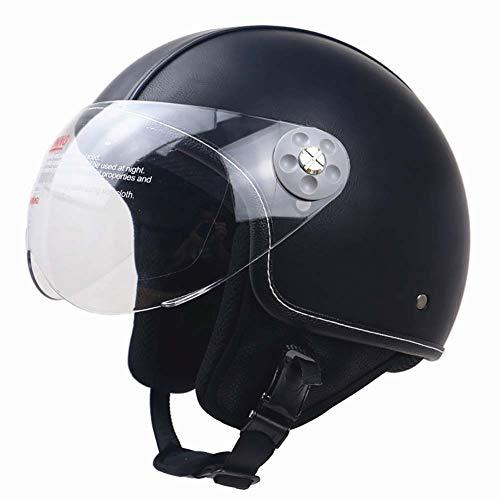 GNZY Unisex Motorhelm Casual Retro Half Face Helm ABS Lederen Veilige Helm met Goggles DOT Certificaat voor Off-Road Mountainbike Locomotief Schaatsen Klimmen Scooter, E, M