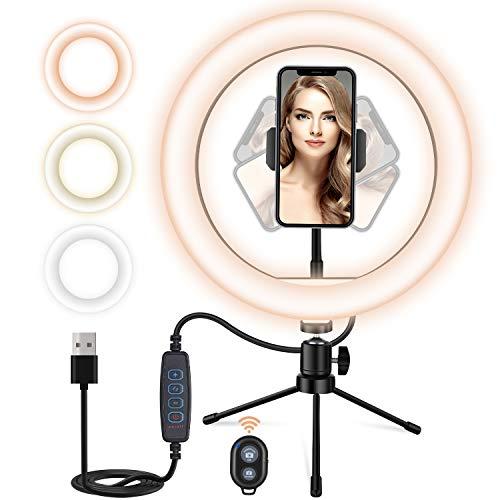 Buoth Ringlicht Selfie Licht 10,2 Zoll, Einstellbar 3 Farbtemperaturen und 10 Helligkeitsstufen mit Fernbedienung Bequem für Selfie, Make-up, Video-Chat, Aufnahme TikTok...