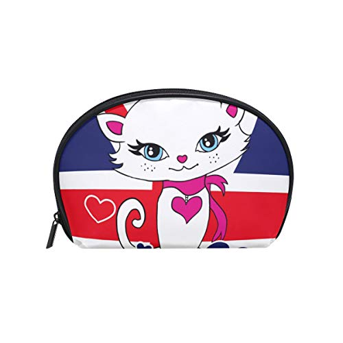 Cosmetic Bag with Zipper Flag Lovely Cat Clutch Travel Storage Bag Organizer Case for Women Makeup Pouch Bag