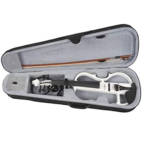YUXIwang Violín Naomi 4/4 Tamaño Completo Violín eléctrico Fiddle 5 String Silent Violin Accesorios Nuevo Instrumentos (Color : White)