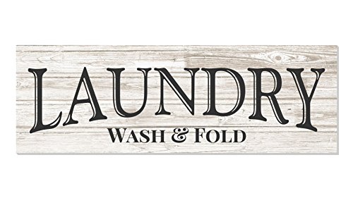 Laundry Wash Fold Rustic Wood Wall Sign 6x18