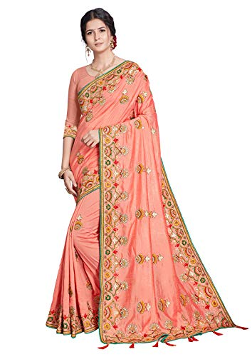 Women's Wear Indian Traditional Wedding Wear Embroidery Work Saree with Unstich Blouse Piece Kajal (Pitch)