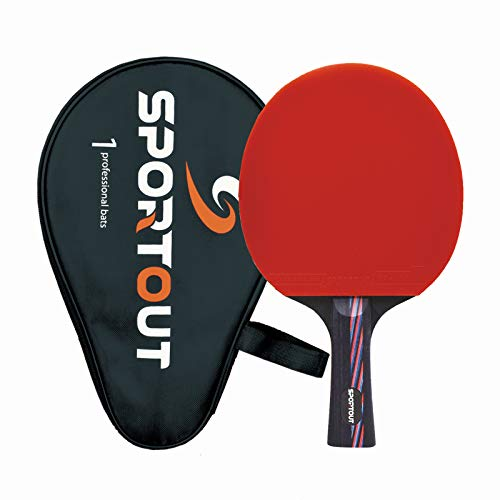 Sportout Sriver-He Rubber Table Tennis Paddle, Professional Pingpong Racket with Case, 9-ply Wood...