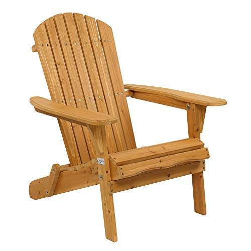 VINGLI Wooden Adirondack Chair Ergonomic Design, Folding Outdoor Patio Lounger Armchair Furniture w/Natural Finish, for Beach, Poolside, Balcony