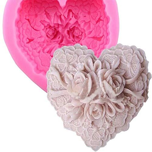 Moule en silicone 3D en forme de cœur avec roses et nœud anti-adhésif pour décoration de gâteau - Moule à pâtisserie en résine fait à la main - Moule à pâte à modeler - Moule à pâtisserie