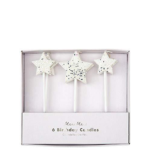 Velas de estrella plateadas con purpurina para fiestas de cumpleaños, Navidad, pasteles de Pascua, suministros de fiesta, eventos, catering, regalo para hornear